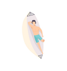 young man lying on hammock and sunbathing on the vector image