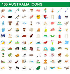 100 australia icons set cartoon style vector image vector image