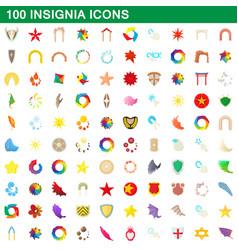 100 insignia icons set cartoon style vector image