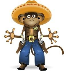 monkey sheriff vector image vector image