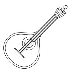 Musical instrument mandolin contour vector image