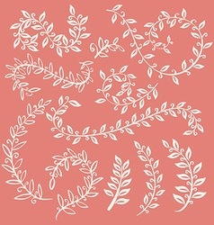 Set of leaves on pink background design elements vector image