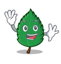 Waving mint leaves character cartoon vector