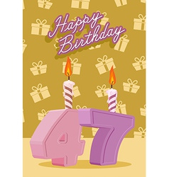 Birthday candle number 47 with flame vector image vector image