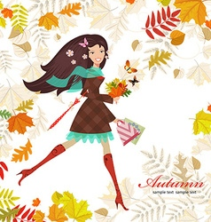Smiling girl with bouquet of fall colorful leaves vector image vector image