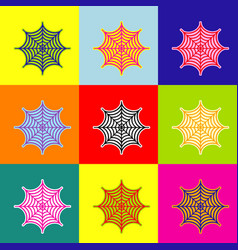 spider on web pop-art style vector image vector image