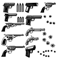 handguns isolated on white background bullet holes vector image