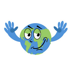 happy earth isolated good planet on white vector image vector image