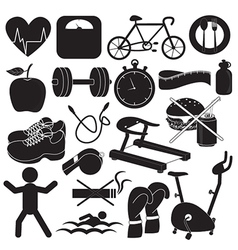 Health and Fitness Icons Collection vector image vector image