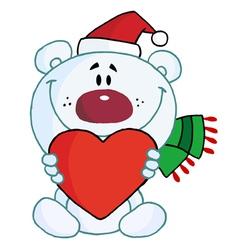 polar bear holding a heart vector image vector image