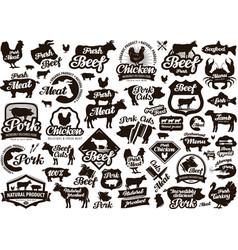 Restaurant cafe logo food meat or menu vector
