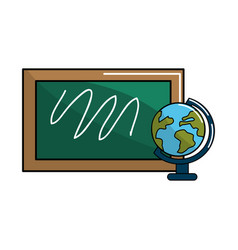school board with earth planet desk vector image vector image