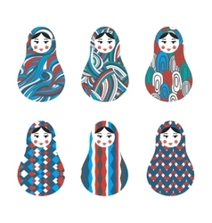 Set of russian traditional wooden toys babushka vector image vector image