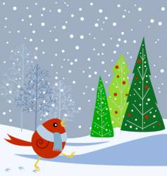 snowbird and trees vector image vector image