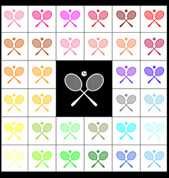 tennis racket sign felt-pen 33 colorful vector image vector image