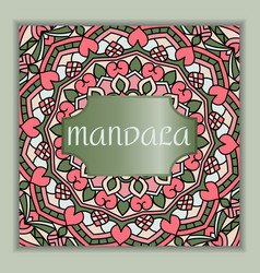 vintage square card with mandala pattern and vector image vector image