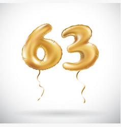 golden number 63 sixty three metallic balloon vector image