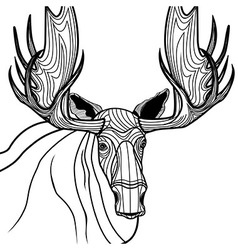 Moose head animal for t-shirt Sketch elk tattoo de vector image