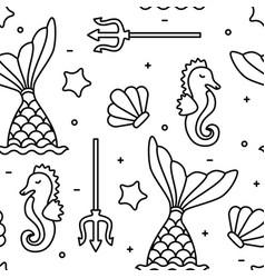 sea concept black outline seahorse mermaid vector image vector image