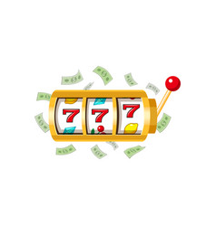 three lucky sevens slot machine display and lever vector image