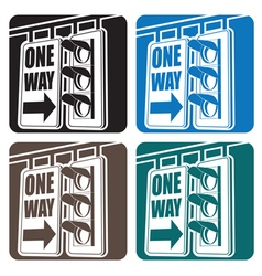 Traffic light and sign vector image