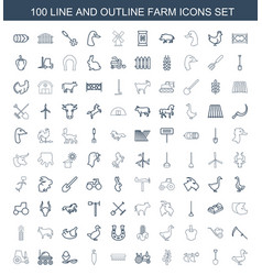 100 farm icons vector image