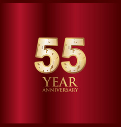55 year anniversary gold with red background vector