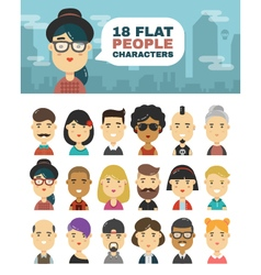 A set of 18 people characters in a flat style vector