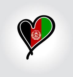 Afghani flag heart-shaped hand drawn logo vector