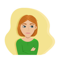 angry girl crossed her arms vector image