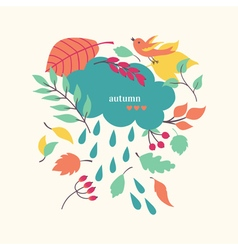 Autumn background with cloud and leaves vector