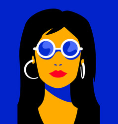 avatar girl in sunglasses on sunny day vector image