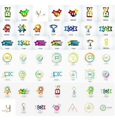 Award mega icon set vector image
