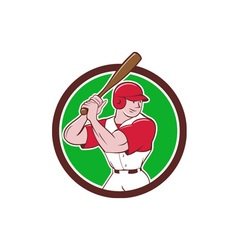 Baseball Player Batting Stance Circle Cartoon vector image