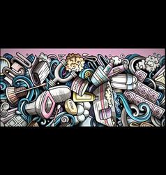 bathroom hand drawn doodle banner cartoon vector image