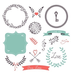 Beautiful collection frames and laurels vector