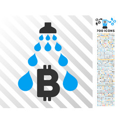 Bitcoin laundering shower flat icon with bonus vector