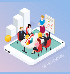 business coaching online isometric composition vector image