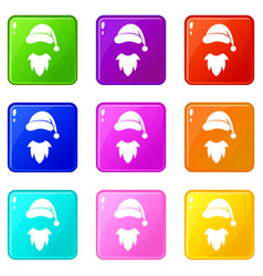 Cap with pompon of santa claus and beard set 9 vector
