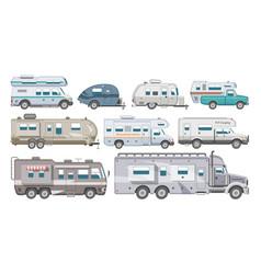Caravan rv camping trailer and caravanning vector