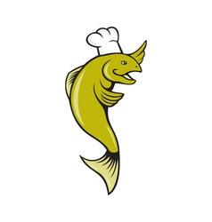 Cartoon Chef Baker Cook Trout Fish vector