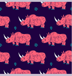 Cartoon mascot rhinoceros isolated vector