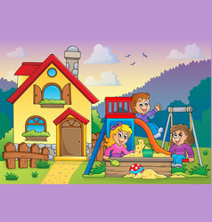 children playing near house theme 1 vector image
