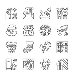 christmas new year line icon set editable stroke vector image