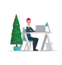 Christmas tree business man sitting at the table vector