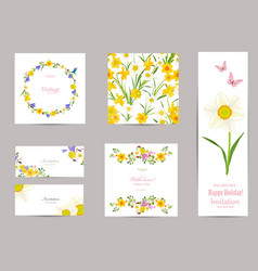 collection of greeting cards with blossom vector image vector image