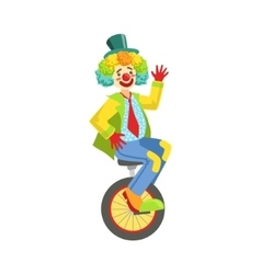 Colorful Friendly Clown With Rainbow Wig In vector image