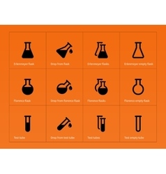 Conical flasks icons on orange background vector