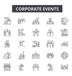 Corporate events line icons for web and mobile vector