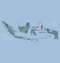 Country indonesia map and province north maluku vector